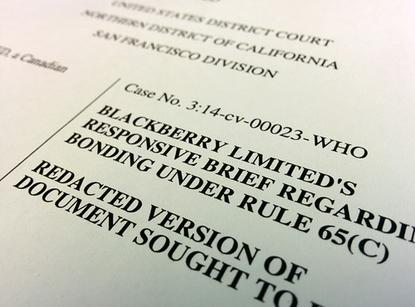 Blackberry's court filing arguing for an immediate injunction against Typo keyboards