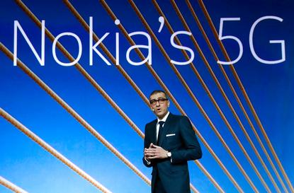 Rajeev Suri (Nokia), speaks during the Mobile World Congress in February 25, 2018.
