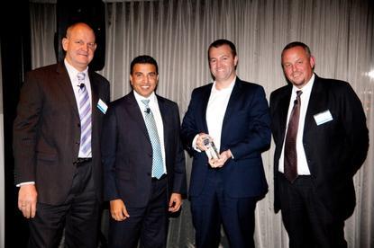 Left to right: EMC A/NZ channel general manager, Brett Harris; EMC A/NZ managing director, Alister Dias; Thomas Duryea CEO, Andrew Thomas; EMC APJ channels vice-president and general manager, Joergen Jakobsen.