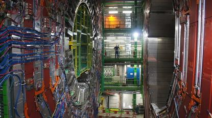 The 12,500 ton Compact Muon Solenoid (CMS) in Cessy, France is the heaviest of the detectors at the LHC. It along with ATLAS (A Toroidal LHC ApparatuS) gathered the data that resulted in the Higgs boson announcement.