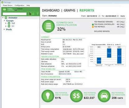 Screen shot from TSO Logic's energy management software