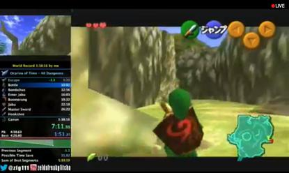 A Twitch live stream of a session of The Legend of Zelda: Ocarina of Time.