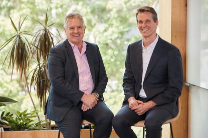 Bob Easton, chairman of Accenture in Australia and New Zealand (left) with Dr. Andrew Charlton, founder and director at AlphaBeta Advisors