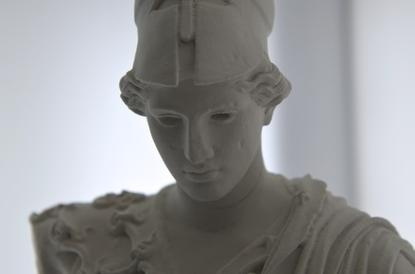 A bust 3D printed from a limestone composite