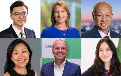 Top row (L-R): Qu Fan (VMware); Nicki Dewhurst (Sophos) and Budi Santoso (Cisco) / Bottom row (L-R): Joanne Wong (LogRhythm); Alistair MacIntyre-Currie (Veeam) and Jocelyn Tan (Alcatel-Lucent Enterprise)