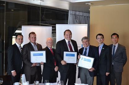 Dell award winners (L to R): Dell's Peter Murphy; Global One's John Kara; Anittel's Michael Cook; Intuit's Pieter Kolkert; Anittel's Peter Kazacos; Dell's Richard Lee and Terence Ng.