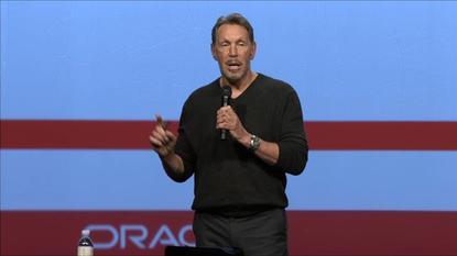 Larry Ellison speaks at Oracle HCM World in Las Vegas on Feb. 6, 2014