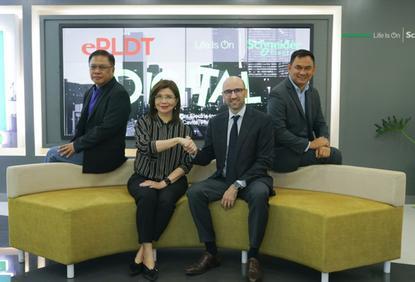 L-R: Dave Simon (ePLDT); Nerissa Ramos (ePLDT); Alex Vermot (Schneider Electric Philippines) and Richard Lagcao (Schneider Electric Philippines)