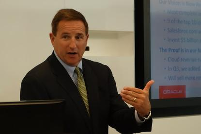 Oracle Co-CEO Mark Hurd spoke on Thursday at a press event at Oracle headquarters in Redwood Shores, California.