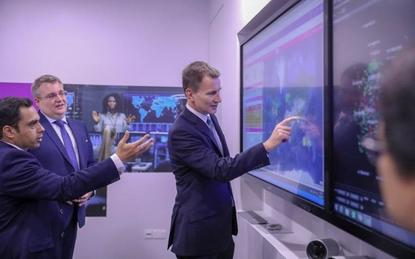 Jeremy Hunt - UK Foreign Secretary (centre); James Hennah - managing director of BT in South East Asia (centre left) and Faisal Parvez - global services director of Domain Technology of BT (left)