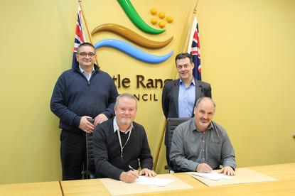 Front: (L - R): Wattle Range Council's Ben Gower and Datacom's Mark Matijevic (back L - R): - Wattle Range Council's Paul Duka and Datacom's Vince Bentley