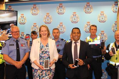 From left: Chris Dawson, (WA Police), Minister Michelle Roberts and Malcolm DeSilva (Telstra)