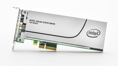 The Intel 750 Series SSD in a half height, half length add-in card.