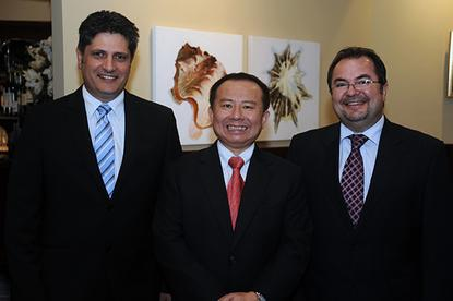 D-Link's Domenic Torre, Tony Tsao and Maurice Famularo