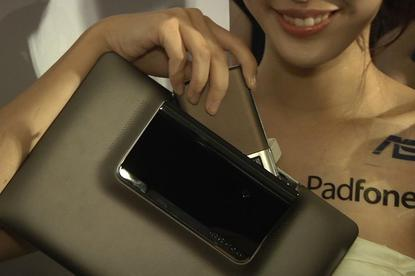 Asustek's Padfone demonstrated during a news conference in Taipei on May 30, 2011