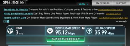 Screenshot of results from SpeedTest.net courtesy of Raaj Menon.