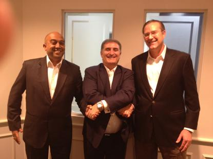 From left: Suresh Nair, FalconStor general manager and vice president for APAC; Vic Masi, FalconStor country manager for A/NZ; and FalconStor president and CEO, Jim McNiel