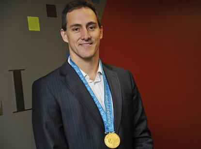 Chris Fydler with his gold medal from the 2000 Olympic Games in Sydney