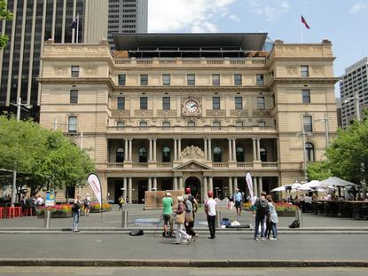 Toshiba commisioned a chalk drawing outside of the Customs House building in Sydney