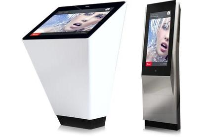 Two of Abuzz's kiosks. Products are not to scale in this image.