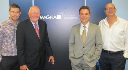 Magna Systems and Engineering chief operating officer, Matthew Clemesha, executive chairman Robert Clemesha, chief executive, Heinz Herrmann and director of marketing, David Clemesha