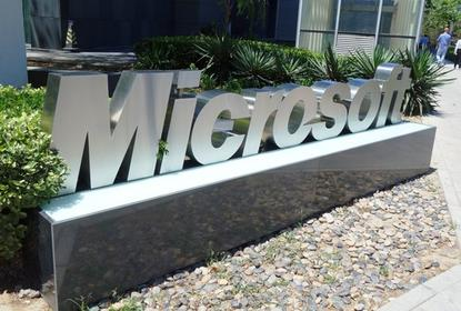 The Microsoft logo, outside an office in Beijing.