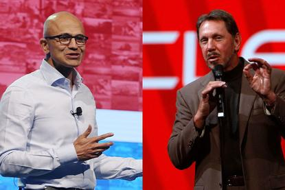 Satya Nadella (Microsoft) and Larry Ellison (Oracle)