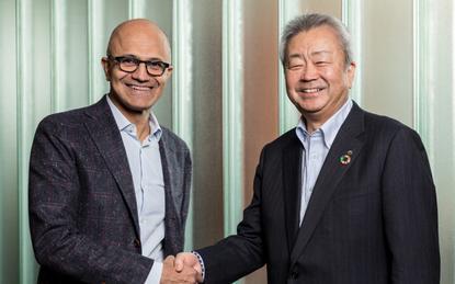 Satya Nadella (Microsoft) and Jun Sawada (NTT)