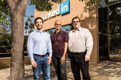 Jeff Weiner (LinkedIn), Satya Nadella (Microsoft) and Reid Hoffman (LinkedIn)