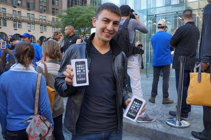 Apple's latest phones—the iPhone 5c and iPhone 5s—hit retail shelves on Friday. And at Apple Stores in 10 countries around the world, people lined up in anticipation of doors opening at 8 a.m. local time so they could get their hands on the new models, just as they had for previous iPhone launches.