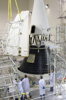 NASA Engineers installed a four-piece fairing over Orion a few weeks ago as one of the final major assembly steps for the spacecraft.