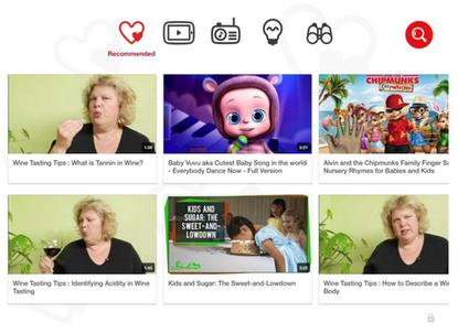 YouTube Kids recommends wine tasting videos
