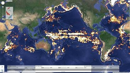 This image from the Global Fishing Watch platform shows fishing vessels in the Pacific Ocean. The platform is aimed at tracking illegal fishing and curbing overfishing.