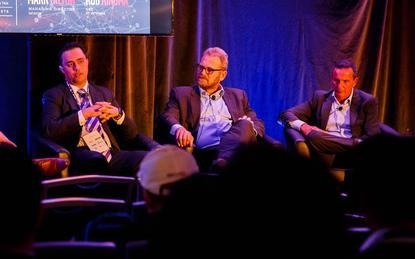 Mark Hilton (Datacom); Rob Kingma (ICT Networks) and James Forbes-May (Barracuda)