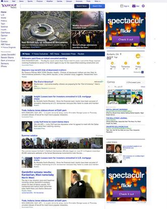 The revamped Yahoo News page.