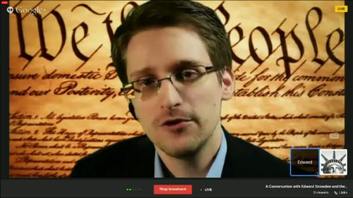 Edward Snowden speaks via video link to the SXSW conference on March 10, 2014