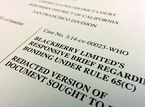 Blackberry's court filing arguing for an immediate injunction against Typo keyboards