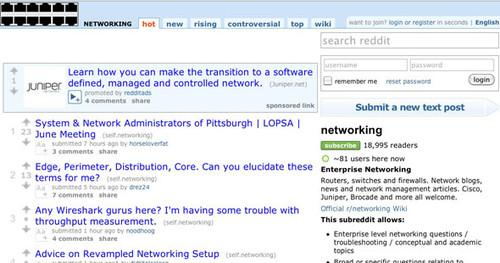 Screenshot of the Networking subreddit