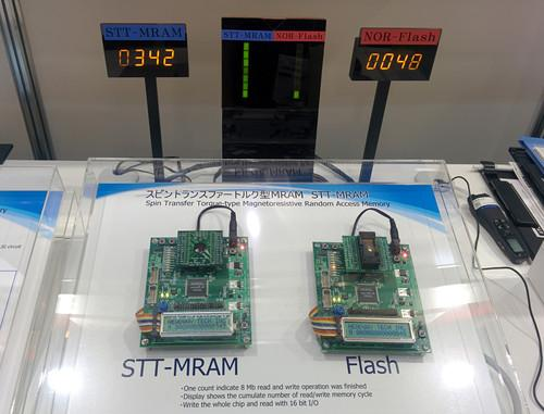 A TDK MRAM chip is demonstrating alongside a flash memory chip at Ceatec Japan on October 8, 2014