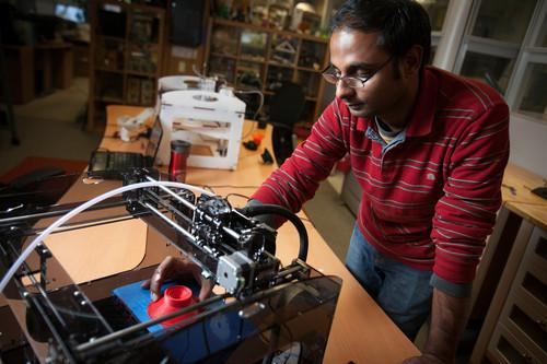 Graduate student Apoorva Kiran working on his 3D printed, fully functional loudspeaker at Cornell University.