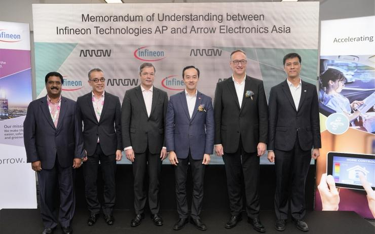 L-R: Natarajan MM (Arrow); Esmond Wong (Arrow); H.E. Dr Ulrich A. Sante (German Ambassador to Singapore); Dr Koh Poh Koon (Senior Minister of State, Singapore); Dr. Helmut Gassel (Infineon) and Chua Chee Seong (Infineon)