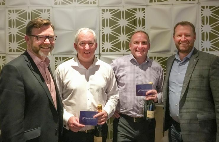 (L to R):Tradewinds' Tony Heywood; 17 Ways' Tim Mallyon and John Tufts, and Telarus' Scott Forbush