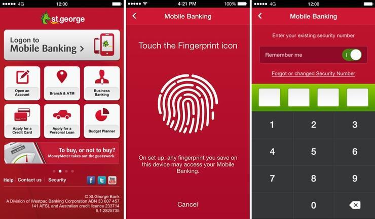 st george turns on fingerprint login for apple ios internet banking