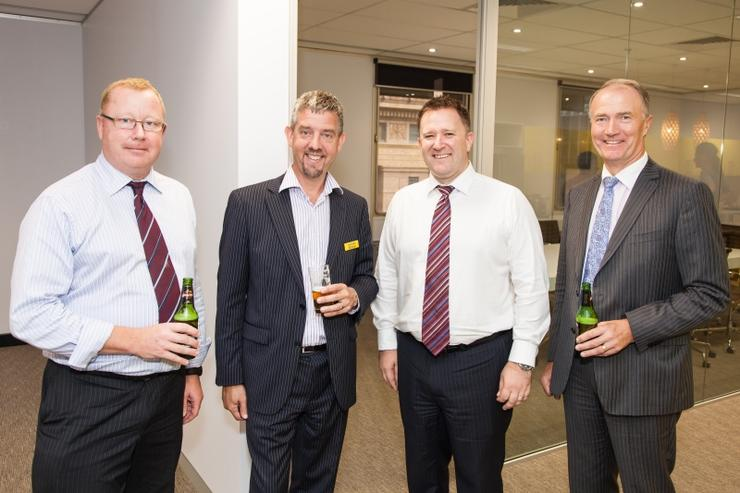Drinks at the Sydney CBD office launch. From left to right: COO and director, Simon Bright; director, Wayne Forgesson; country manager, Michael Morgan; independent chairman, Richard Westlake.