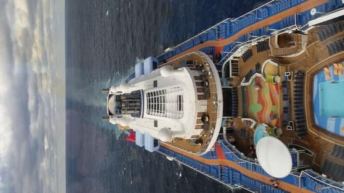 A view of Quantum of the Seas from the ship's North Star, a glass capsule that lifts passengers 300 feet in the air.