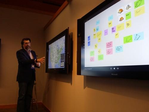 Available in 55-inch and 84-inch screen sizes, the Surface Hub is a tool for collaboration, including working on documents and video conferencing.