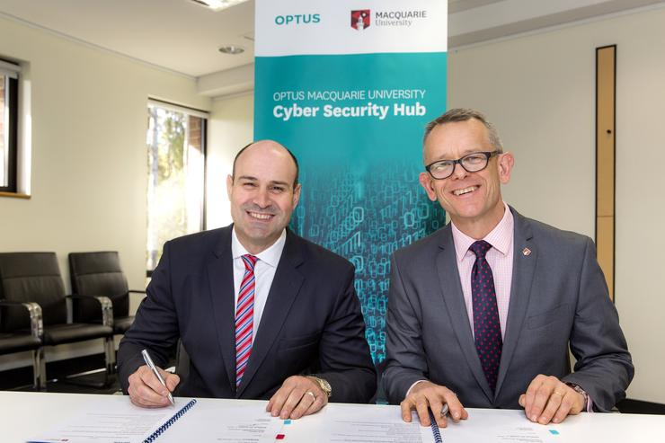 Optus Business managing director John Paitaridis and Macquarie University deputy vice-chancellor David Wilkinson