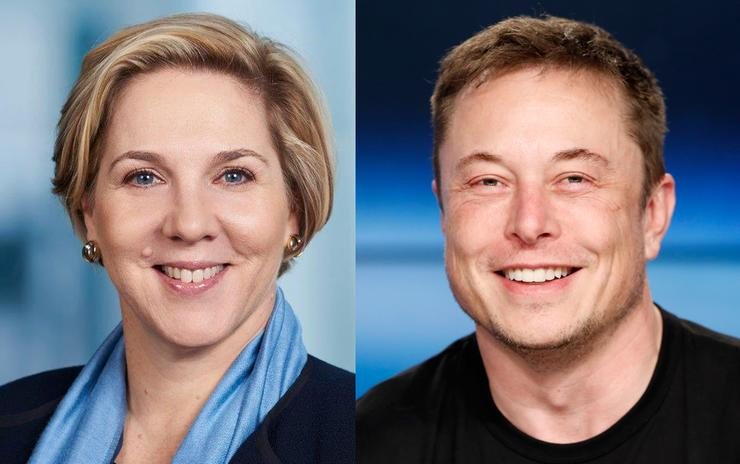 Robyn Denholm and Elon Musk