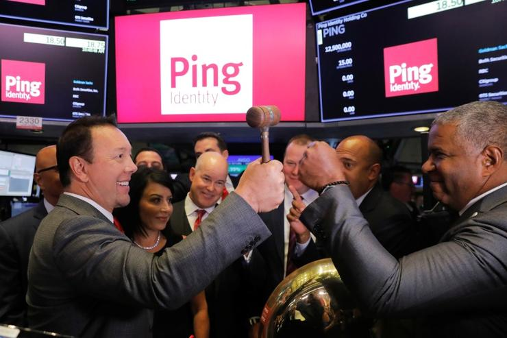 Ping Identity CEO Andre Durand celebrates the IPO of Ping on the floor of the New York Stock Exchange, September 19, 2019.