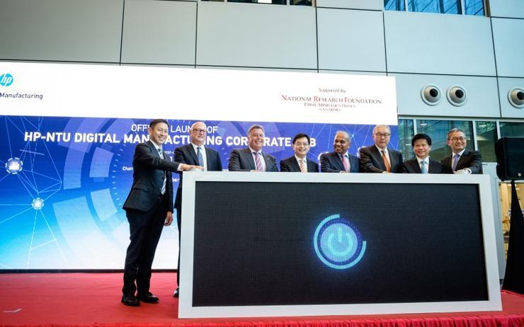 L-R: Ng Tian Chong (HP); Shane Wall (HP); Dion Weisler (HP); Heng Swee Keat (NRF): Subra Suresh (NTU); Prof Low Teck Seng (NRF); Prof Ling San (NTU) and Prof Lam Khin Yong (NTU)